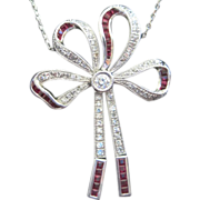 Vintage Fine Platinum and Diamond Bow shaped necklace