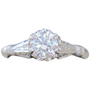 18k White Gold Solitaire Engagement ring  .40 Diamond