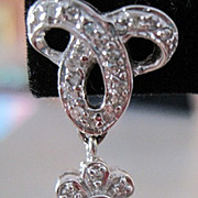 Diamond French Bow and Dangle Flower post earrings 14k