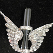 Victorian DIAMOND WINGS necklace with Onyx and Pearl