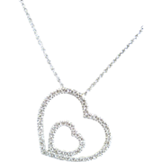 Italian 18k white gold double heart diamond necklace