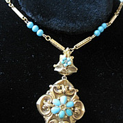 Antiques Victorian 18k yellow gold and turquoise pendant