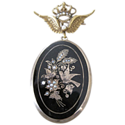 Victorian 14k Locket & Pendant pin with etched gold birds