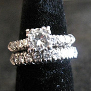 Vintage Platinum DIAMOND Wedding Band and  Engagement ring set G-H VS2 brilliant cut center stone 0.60