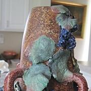 Czech Amphora Art Deco Vase with applied blueberries