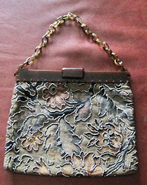 Museum quality vintage Art Deco steel cut bead and brocade handbag
