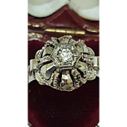Antique Gothic European Victorian Solid 18k Gold Genuine Diamond Ring Hand Made Ring
