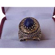 Antique Art Deco 14K Yellow Gold  Filigree Lapis Lazuli Ring, 1920's