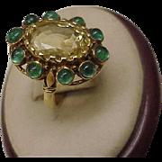 Unique Estate Vintage  18k Yellow Gold Genuine Huge Citrine Emerald Ring