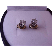 Estate .50ct Diamond 14k White Gold  Earrings Studs