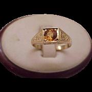 Unique Art Deco 10K Yellow Gold .75ct Genuine Sapphire Ring