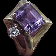 Estate Vintage 14k Yellow Gold 4.00ct Amethyst & Diamond Ring
