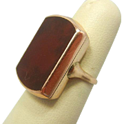 Rare Victorian 14k Solid Yellow Gold Large Carnelian Stone Ring, 1800s