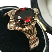 12K Rose Gold Antique Victorian Genuine Garnet & Pearl Ring, 1800s