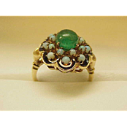 Vintage   2.00ct Natural Colombian Green Emerald Fiery Opal 14kt Yellow Gold Cluster Ring