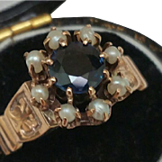 Victorian Enameled 12K Rose Gold Genuine 1.00ct Sapphire & Genuine Seed Pearls Ring, late 1800s