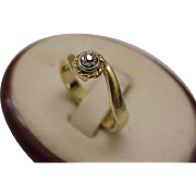 Antique Unique Victorian 14k 2-Tone Gold Engagment .15ct Old Mine Cut Diamond Ring
