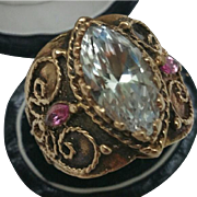 Incredible works of Art , Antique  Enameled 14k Yellow Gold Genuine Huge 15.00ct. White Topaz and Genuine Pink Sapphires Ornate Ring