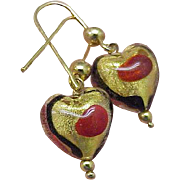 Incredible works of Art , Blue and Red Enameled Dangle Earrings - 5.40 Gr, 14k Yellow Gold!