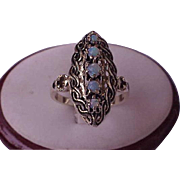 Victorian Unique 18K Yellow Gold Genuine Opal Black Enamel Filigree Ring