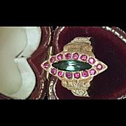 Antique Edwardian 14k Rose Gold Ring: Genuine Rubies & Genuine Green Tourmaline