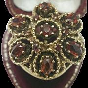 Estate Vintage 14K Yellow Gold Huge Filigree Ring Genuine over 4.00cttw Garnets ,Heavy 11.9gr,1950s