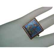 Superb Antique Victorian 14K Yellow Gold Ring with Hand-Painted Enamels,1880s