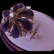 Incredible works of Art, Vintage  18k Yellow Gold Ring:1.00ct Diamonds & 10.00ct Genuine Amethysts, Filigree Ring