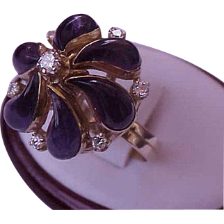 Incredible works of Art, Vintage  18k Yellow Gold Ring:1.00ct Diamonds & 10.00ct Genuine Amethysts, Filigree Ring