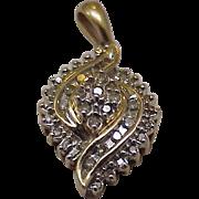 Estate Vintage 10k Yellow Gold 1.00cttw Diamond Filigree Design Pendant