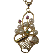 Antique Victorian 585(14K) Gold Genuine Seeds Pearl , Ruby's and Emerald Pendant, late 1800s
