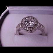 $14879 Estate Vintage 14k White Gold VS/H 1.57cttw Natural Diamond Ring