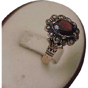 1880s Antique Estate Gothic Victorian Rose 12K Gold Garnet Pearl Ring