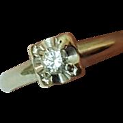 Antique Art Deco 14k White Gold Engagment .23ct Old European Cut Diamond ring ,1930's