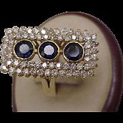 $7124  Incredible works of Art, Estate Vintage 14k Yellow Gold 5.75ct Genuine Sapphires & Diamonds
