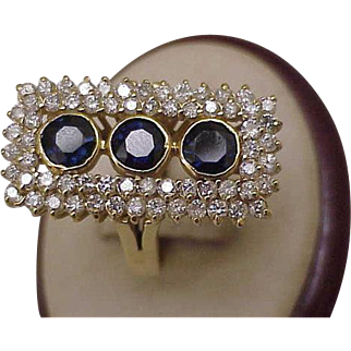 $7124  Incredible works of Art, Estate Vintage 14k Yellow Gold 5.75ct Genuine Sapphires & Diamonds