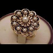 Incredible works of Art, Estate Designer GH, 14k Yellow Gold Natural Cultured Akoya Pearl Blue Enamel Ring