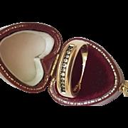 Unisex Estate Vintage 14K Gold Yellow Diamond Enameled Wedding Ring Band