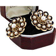 "Incredible works of Art,DESIGNER ""GH"" Vintage  14k Yellow Gold Natural Cultured Akoya Pearl Blue Enamel Earrings"