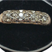 Antique Victorian 14K 2-Tone Gold 4 Old European Cut Diamonds VSH Wedding Ring Band, early 1900's