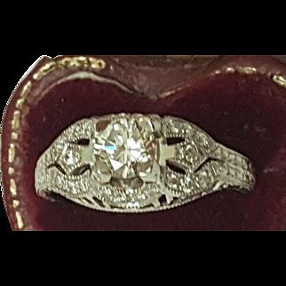 $7,057 Incredible works of Art,Vintage  .75cttw Diamond Platinum Filigree Ring