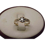 Antique Estate Gothic Victorian Rose 10K Diamond Belcher Ring, 1890s