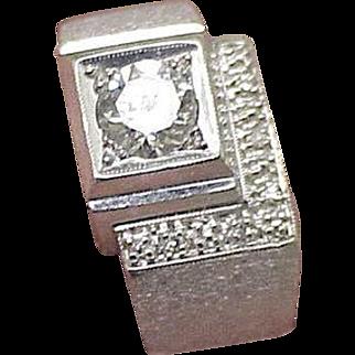 Estate Vintage Mens .76ct VSH Solitaire Diamond 14kt White Gold Ring