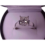 $34.000 2.08ctw VS Natural Solitaire Princess Cut Diamond 14k White Gold Ring comes with Appraisal Certificate