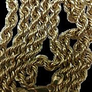 "Unisex Estate Vintage 10k yellow gold rope necklace 26"" 13.6gr"