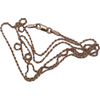 """Estate Vintage 10k yellow gold rope style chain necklace 18"""" Italy"""