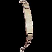 "Estate Vintage Italy Men's 10kt Yellow Gold ID Bracelet , 9 1/2"""