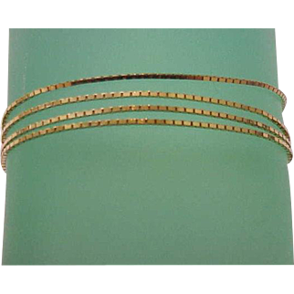 """Estate Vintage 14k yellow gold box style chain necklace 19"""""""