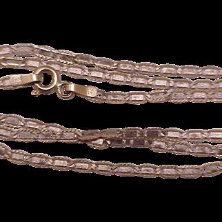 "Unisex Vintage Estate 10k Pink Gold Fancy Chain Necklace,19"" Italy"