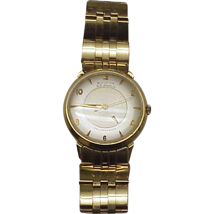 Mens Vintage Bulova 23 Jewels Automatic 14k Solid Gold Watch Self winding,1950s.